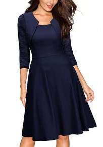 Navy Blue Patchwork Lace Draped Round Neck Fashion Midi Dress