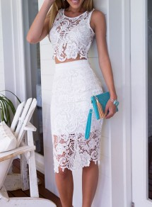 White Plain Hollow-out 2-in-1 See Through Lace Embroidery Knee Length Sleeveless Lace Dress
