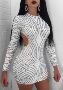 White Cross Sequin Cut Out Zipper Round Neck Mini Dress