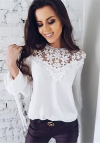 White Lace Patchwork Round Neck Long Sleeve Fashion T-Shirt