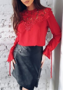 Red Lace Patchwork Round Neck Long Sleeve Fashion T-Shirt