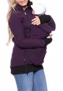 Purple Plain Multi-functional Zipper Kangaroo Baby Bags Hooded Cardigan Sweatshirt