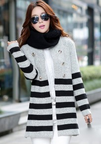 Grey Striped Print Buttons Cardigan