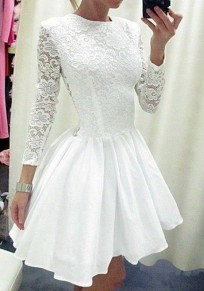 White Plain Hollow-out Pleated Long Sleeve Lace Dress