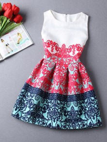 White Patchwork Round Neck Above Knee Polyester Dress
