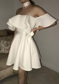 White Ruffle Pleated Sashes Backless Off Shoulder Tutu Homecoming Party Cute Mini Dress