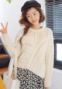 Beige Geometric Irregular Long Sleeve Sweater