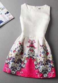 White Floral Print Pleated Sleeveless Cotton Dress