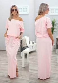 Pink Plain Asymmetric Shoulder Pockets Short Sleeve Fashion Maxi Dress