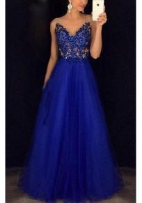 Königsblau Spitze Perlen Rückenfreies V-Ausschnitt Ärmellos Elegante Maxikleid Tüllkleid Abendkleid