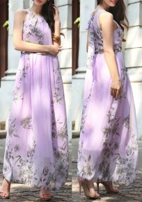 Light Purple Floral Print Belt Round Neck Bohemian Chiffon Maxi Dress