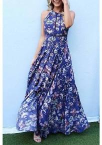 Navy Blue Boho Floral Print Cross Back Slit Halter Neck Bohemian Maxi Dress