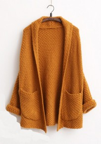 Coffee Plain Pockets V-neck Casual Cardigan Sweater