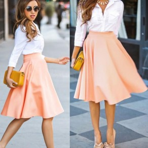 Pink Plain Draped High Waisted Skirt