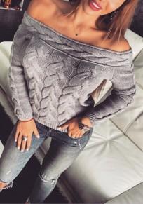 Grey Patchwork Off Shoulder Boat Neck Long Sleeve Pullover Sweater