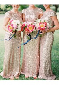 Golden Sequin Round Neck Short Sleeve Fashion Maxi Dress