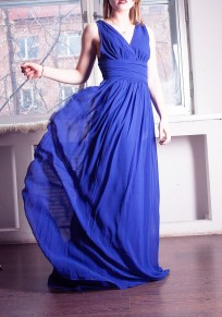 Sapphire Blue Zipper Double-deck Pleated Epaulet Backless Elegant Maxi Dress