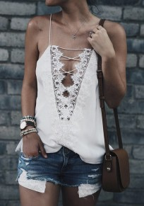White Lace Irregular Shoulder-Strap Club Sleeveless Fashion Vest