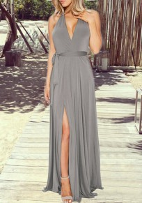 Grey Plain Draped V-neck Sleeveless Elegant Maxi Dress