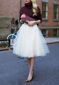 Tulle mi-longue jupe taille haute tutu mode femme blanc