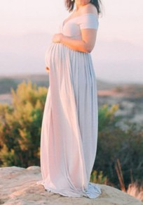 White Plain Pleated Off Shoulder Slit Maternity Maxi Dress