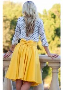 Yellow Plain Bow Pleated Pockets Below Knee Maxi Skirt