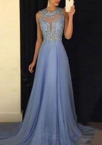 Hellblau Pailletten Rückenfreie Elegante Maxikleid Abendkleid Ballkleid