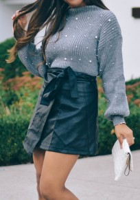 Grey Patchwork Beading Plus Size Round Neck Long Sleeve Pullover Sweater