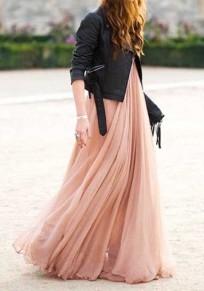 Jupe longue en mousseline plissé taille élastique mode boho rose femme