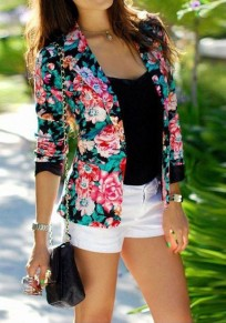 Multicolor Floral Print Turndown Collar Fashion Blazer