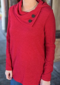 Red Plain Studded Side Slit High Neck Long Sleeve T-Shirt