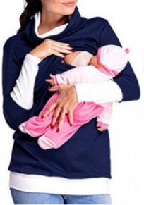 Navy Blue Patchwork Double-deck Breastfeeding Maternity Long Sleeve Sweatshirt