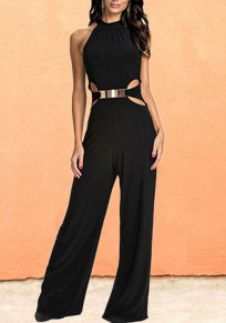 Black Cut Out One Piece Elegant Party Wide Leg Long Jumpsuit