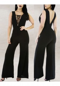 Black Cross Drawstring Lace-up Backless Party Wide Leg Long Jumpsuit