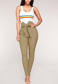 Khaki Sashes Bowknot High Waisted Elegant Office Worker/Daily Pencil Long Pants