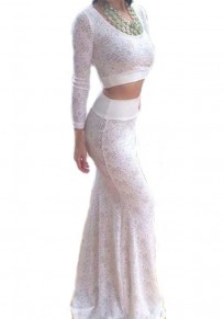 White Plain 2-in-1 Long Sleeve Lace Dress