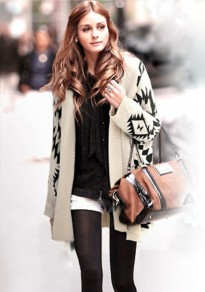 Beige Geometric Irregular Long Sleeve Cardigan