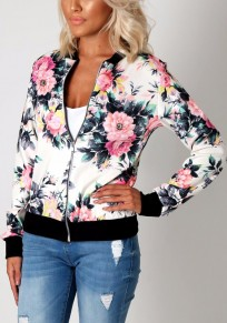 White Floral Zipper Round Neck Long Sleeve Coat