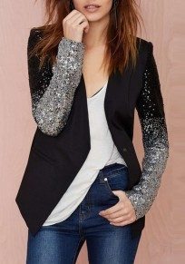 Black Patchwork Sequin Work Business Office Elegant Fashion Suit Coat