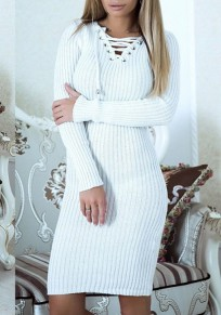 White Drawstring V-neck Long Sleeve Fashion Midi Dress