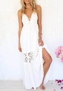 Robe maxi longue avec dentelle dos nu v-cou mode boho plage blanc