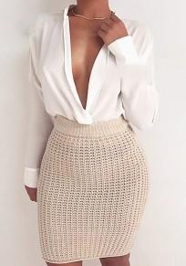 Beige Elastic Waist High Waisted Slim Fashion Midi Skirt