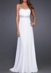 White Plain Sequin Collarless Party Chiffon Maxi Dress