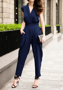 Blue Plain Short Sleeve Spandex Jumpsuit Pants
