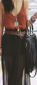 Black Plain High Waist Ankle Loose Chiffon Skirt