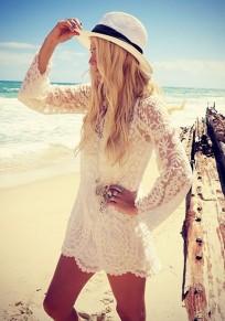 White Lace Round Neck Long Sleeve Fashion Blouse