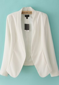 White Band Collar Wrap Cotton Blend Suit
