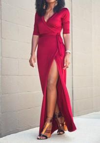 Red Sashes Side Slit V-neck Elbow Sleeve Fashion Maxi Dress