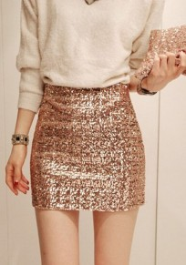 Rose Gold Plain Sparkly Sequin Elastic Waist Slim Clubwear Bodycon Mini Skirt