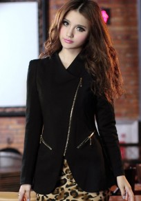 Black Plain Zipper Slim Blazer